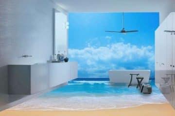 """5 mẫu kính màu ốp tường giúp phòng tắm """"Đẹp như mơ"""""""
