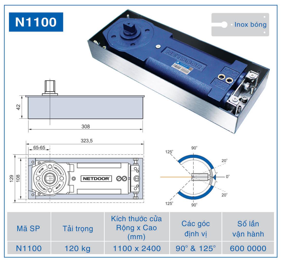 chi tiết kỹ thuật bản lề sàn netdoor n1100chi tiết kỹ thuật bản lề sàn netdoor n1100