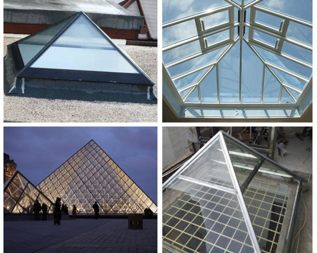 Mái kính giếng trời hình kim tự tháp
