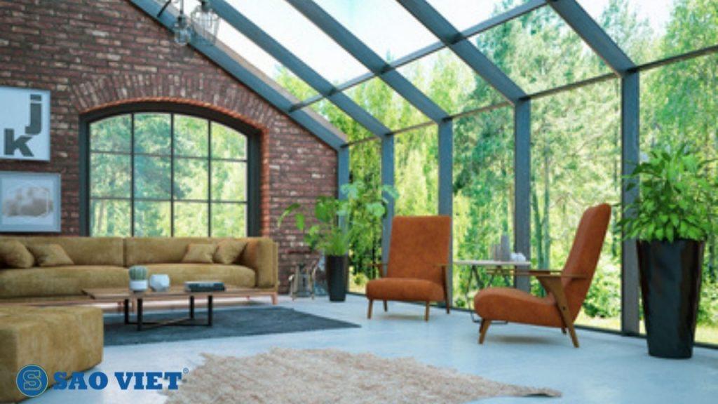 Mái kính sân thượng vừa che nắng che mưa vừa lấy sáng tự nhiên hiệu quả