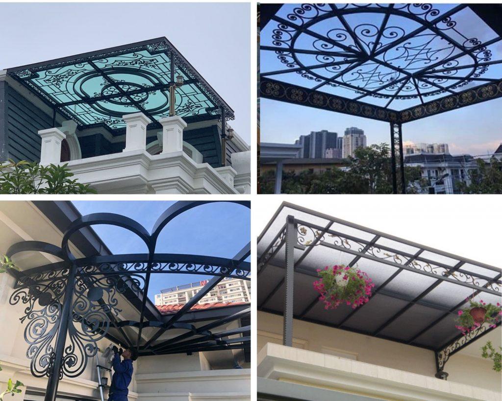Mái kính sân thượng bằng khung sắt nghệ thuật